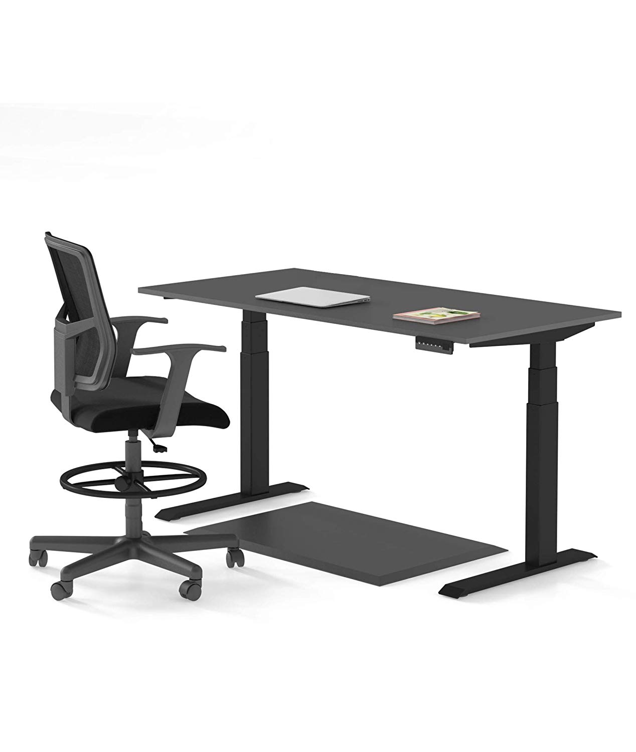 "Electric Stand Up Desk Starter Bundle – Includes a Standing Desk/Height Adjustable Desk, Standing Desk Mat/Anti Fatigue Mat, and Drafting Chair/Drafting Stool (60"") (Black)"