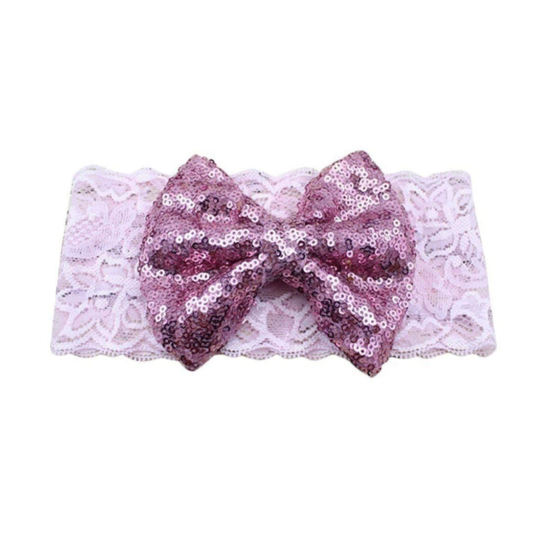 0a95f4fa656a3 Get Quotations · VWH Baby Girls Toddler Lace Sequin Bowknot Turban Hair  Band Headband Head Wrap (Pink)