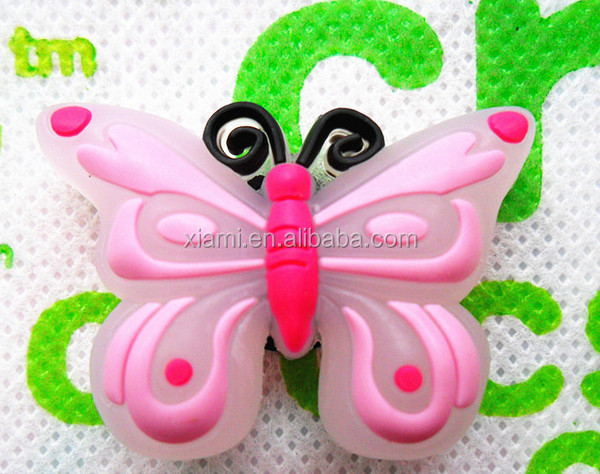 new arrival superior material pink butterfly shape engraving 2D soft pvc jibbitzs