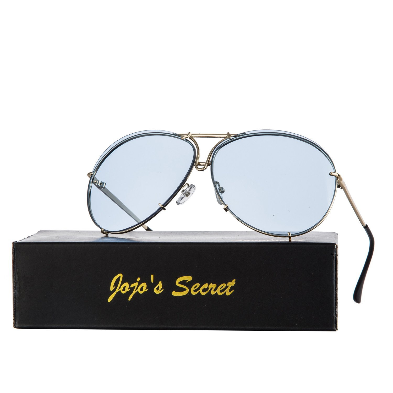JOJO'S SECRET Oversized Aviator Sunglasses,Retro Metal Frames Glasses with Protective Bag JS043