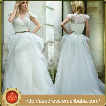 Rm01 Unique Crop Top Tulle Skirt Beading Short Sleeve Wedding Dress ...
