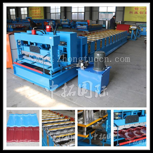 glazed steel tile plate used roll forming machine, ribbed sheet machine