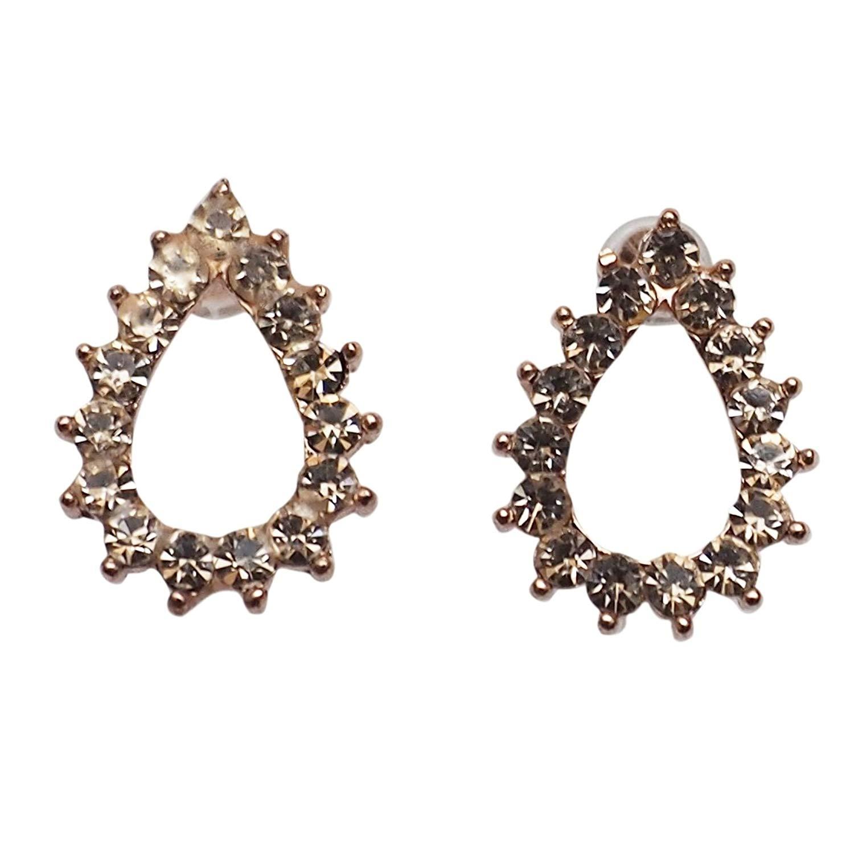 Miyabi Grace Women's Comfortable Stylish Teardrop Simple Rhinestone Crystal Invisible Clip On Stud Earrings Rose gold tone