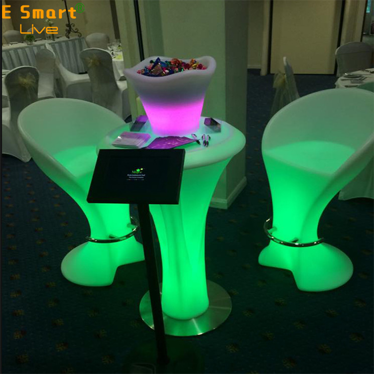 decorations led bar chair for coffee shop rotating stand cocktail table