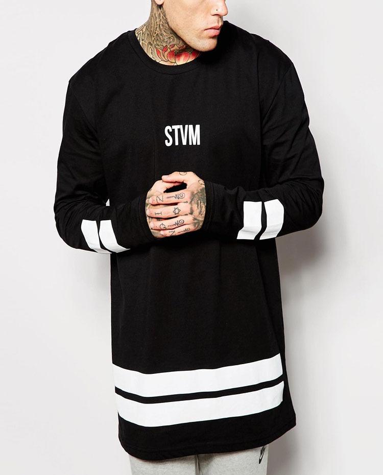Custom Cotton Long Tail T Shirt/mens Hipster Hip Hop Lightweight ...