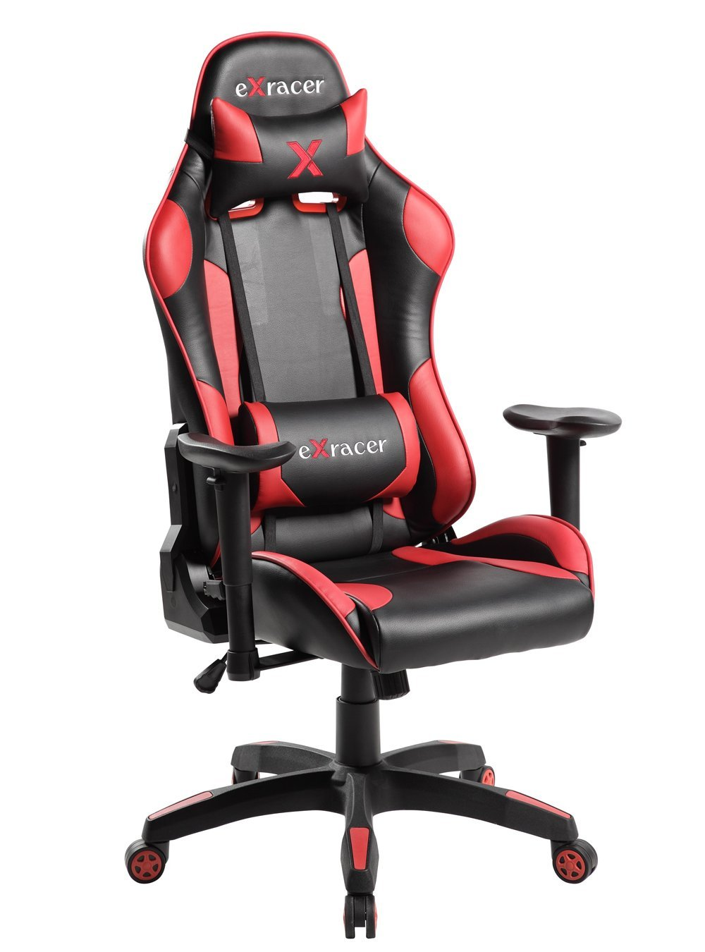 Gaming Chair, Large Size Racing Chair, Racing Style High-back Office Chair, Executive Swivel Ergonomic Computer Chair Leather Chair Cushion Headrest Lumbar Support By Anji Modern Furniture (Red)