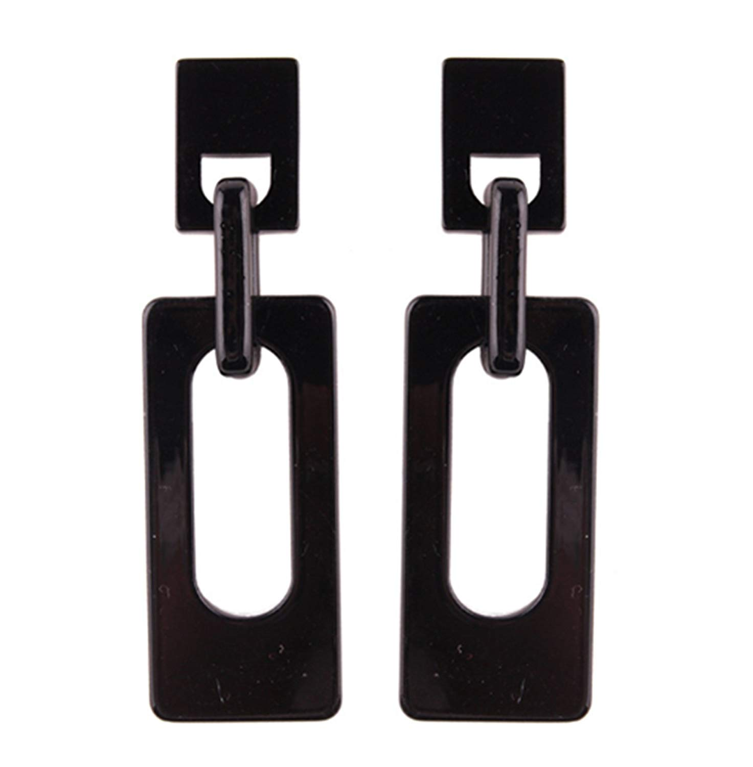 primerry Geometric Rectangular Double Layer Granite Acrylic Ear Hook Earrings