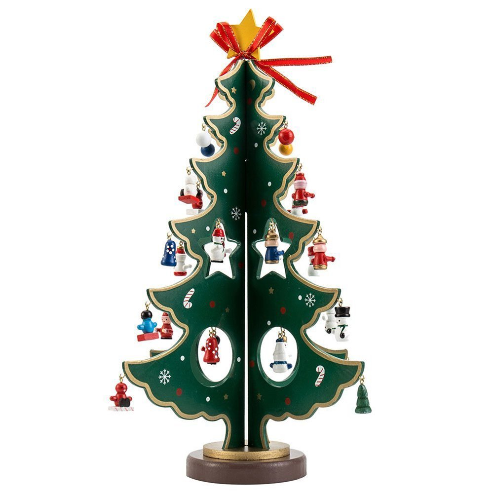 Get Quotations Hivchinge 11 8 Inch Wooden Tabletop Christmas Tree With Miniature Ornaments Desktop Xmas Decorations