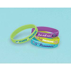 """Amscan Mons Terrific Disney Monsters University Rubber Bracelet Birthday Party Accessory Favor and Prize Giveaway (4 Piece), Multicolor, 2 1/2"""" x 7/16"""""""