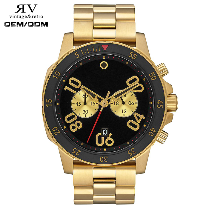 Gold Black Chronograph Watch Multifunction Analog Digital Wrist Watches For Men