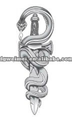 Custom Adult Tattoo Design-grey Snake With Dagger