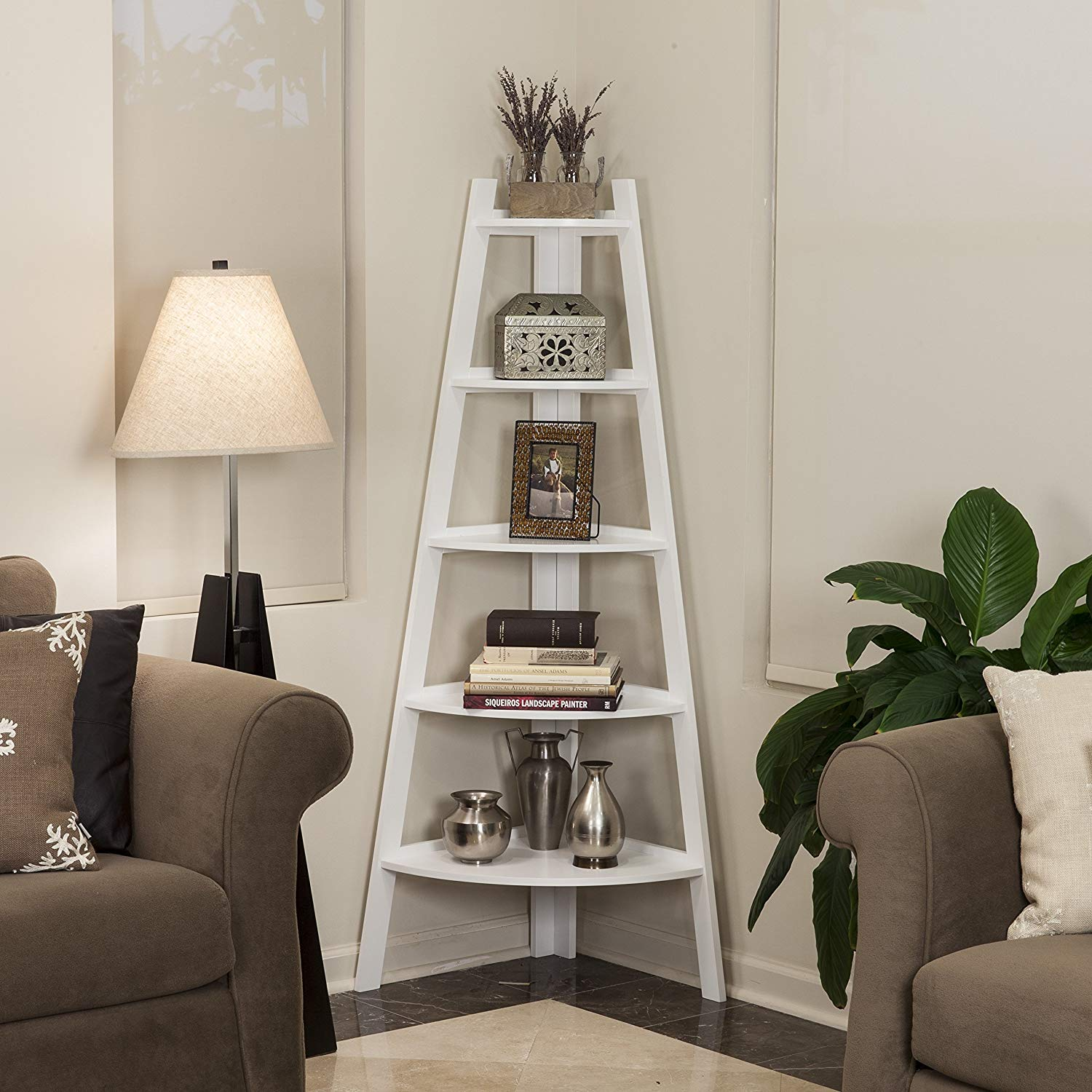 5-tier Corner Ladder Display Bookshelf, 5 Shelves for Ample Space, Wood and MDF Construction, Contemporary Style, Hardware Included, Assembly Required, 63 x 26.5 x 17.5 Inches, Matte White Finish