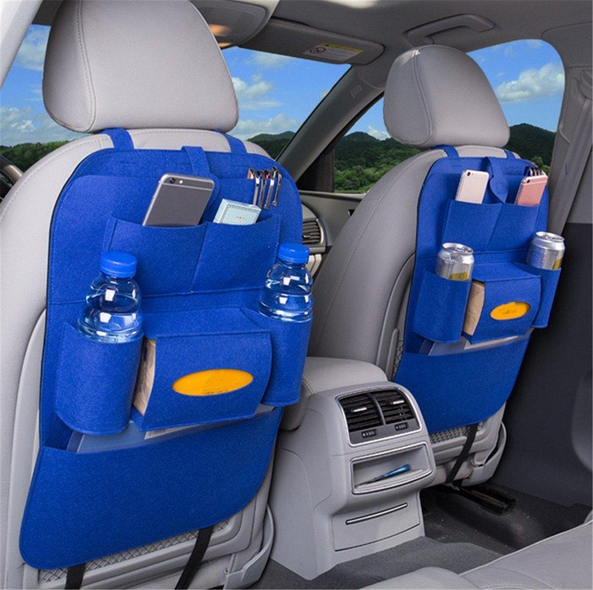 Pink BININBOX Car Backseat Organizer Felt Pocket Protector Kick Mat Auto for Baby Kids Travel Accessories Toy Bottle Storage
