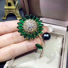 Custom women cute design micro pave cz sunflower Crystal Brooch for Christmas Gifts Jewelry