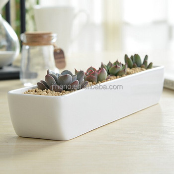 Indoor decor small white ceramic rectangular flower pots, View ...