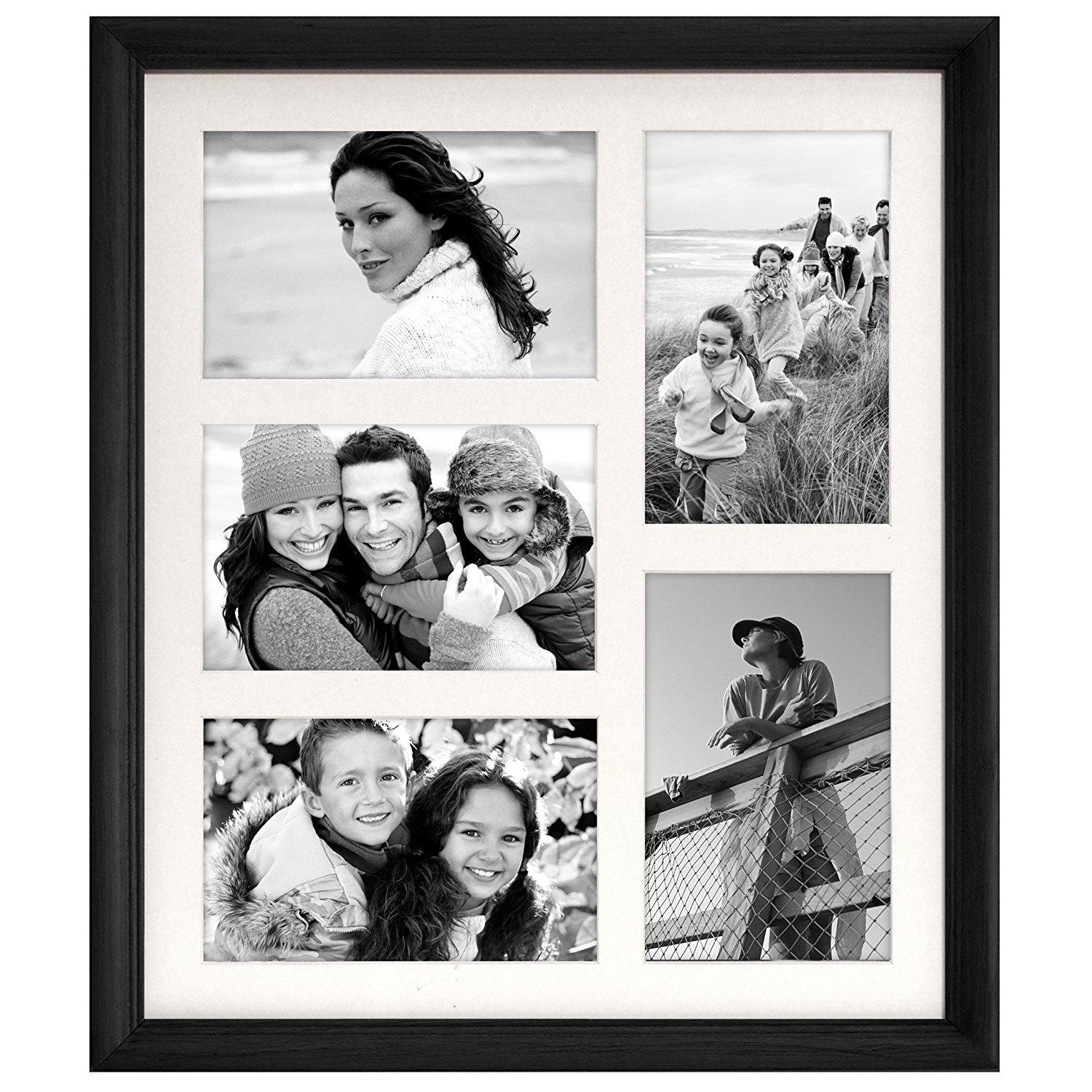 Buy Malden Concept Black Wood 4 Opening Collage Frame, 2-3 by 5-Inch ...