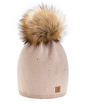 Women Ladies Wool Knitted Winter Beanie Hat with Small Crystals Large Fur  Pom Pom Cap SKI 4d98e14e8a