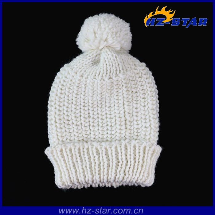 HZM-13302 Ladies ivory pompom knitted long beanie fashion mini top hats wholesale