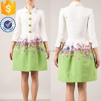 Multicoloured Silk Flower Embroidered Dress Oem Design Werstern