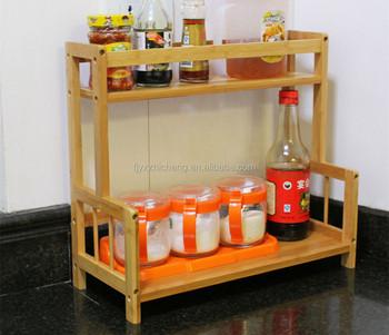 Versorgung Bambus 2 Tier Schrank Spice Rack Organizer Home Kuche
