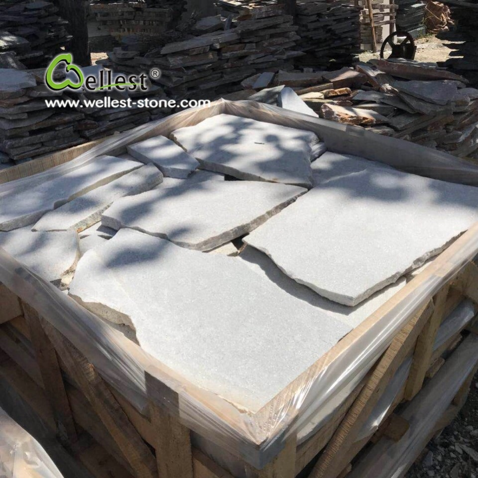 split white quartzite irregular random exterior decorative wall stone