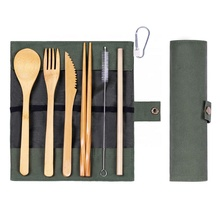 Bambus Reise <span class=keywords><strong>Besteck</strong></span> Set Eco Freundliche Camping <span class=keywords><strong>Besteck</strong></span> mit Stroh mit Baumwolle Beutel für Camping Picknick