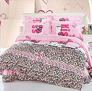 Princess 4 Piece Bedding Set For Girls, Fashion Hollo Kitty Bedding, Dream Kiss Pink Bedding Sets, Soft Polyester Fiber Bed Set, Duvet Cover, Flat Sheet & Pillow Cases (Twin)