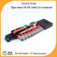China Industrial Grade 12 pcs Rim Metric Cr-V 1/4'' Dr Wrench And Socket Set