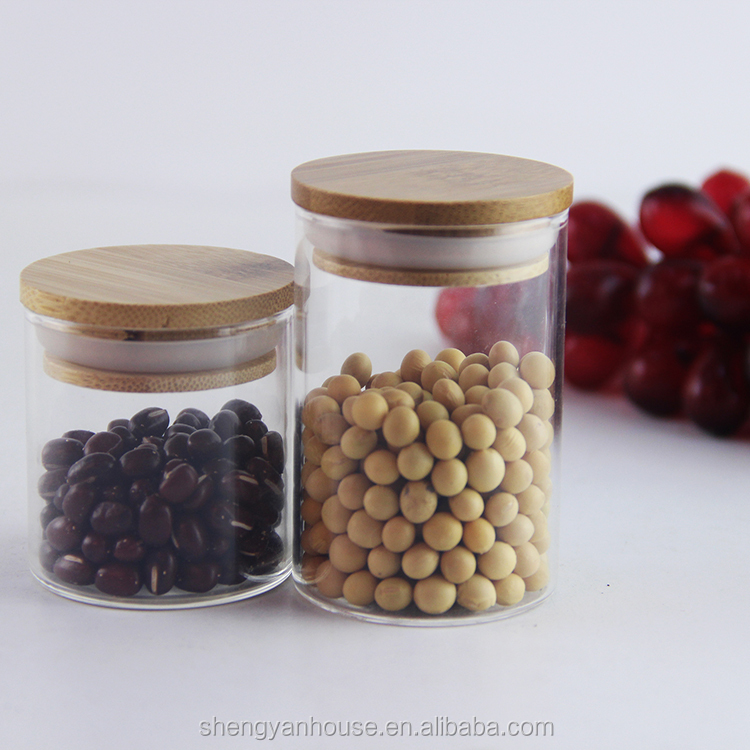 Food packing sealable glass jar wood lid