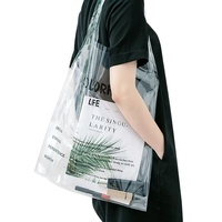 Custom Logo Printing Pvc Transparent Tote Clear Shopping Bags With Handles, Clear Shopping Bag,Pvc Tote Bags