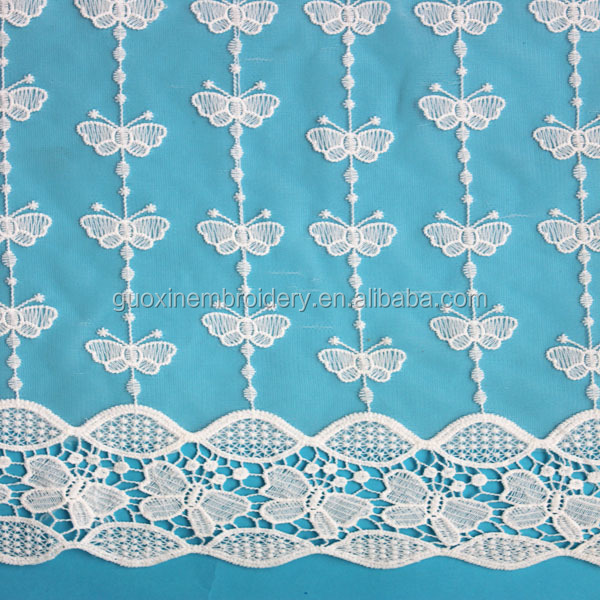 nylon&cotton 3D beautiful butterfly mesh embroidery lace fabric for garment