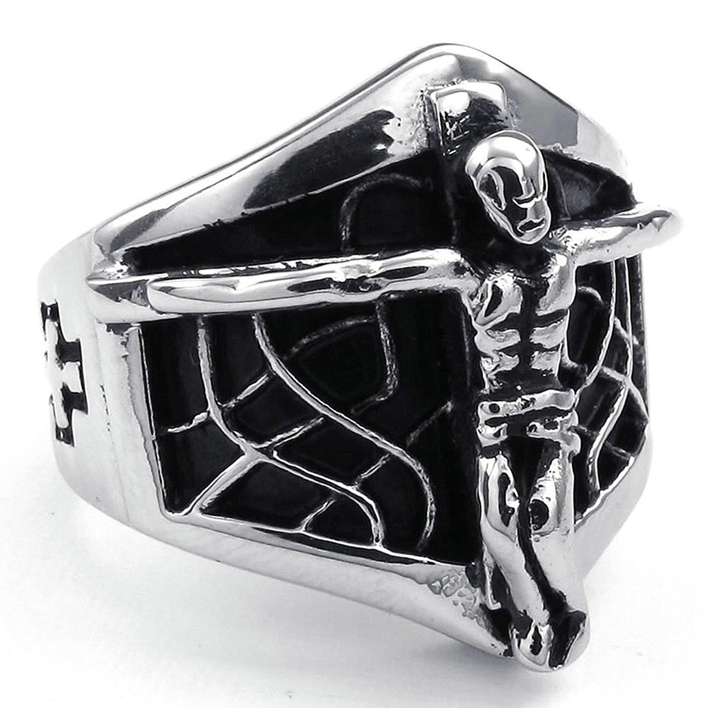 Aooaz Free Engraving Pendant Necklace for Men Jesus Crucifix Black Gothic Christ Cross Punk Link18-26