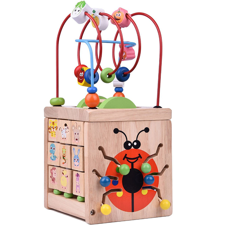 Multi-color Wooden Learning Cube Bead Maze <strong>Toy</strong>,diy Wooden Children Cube Maze