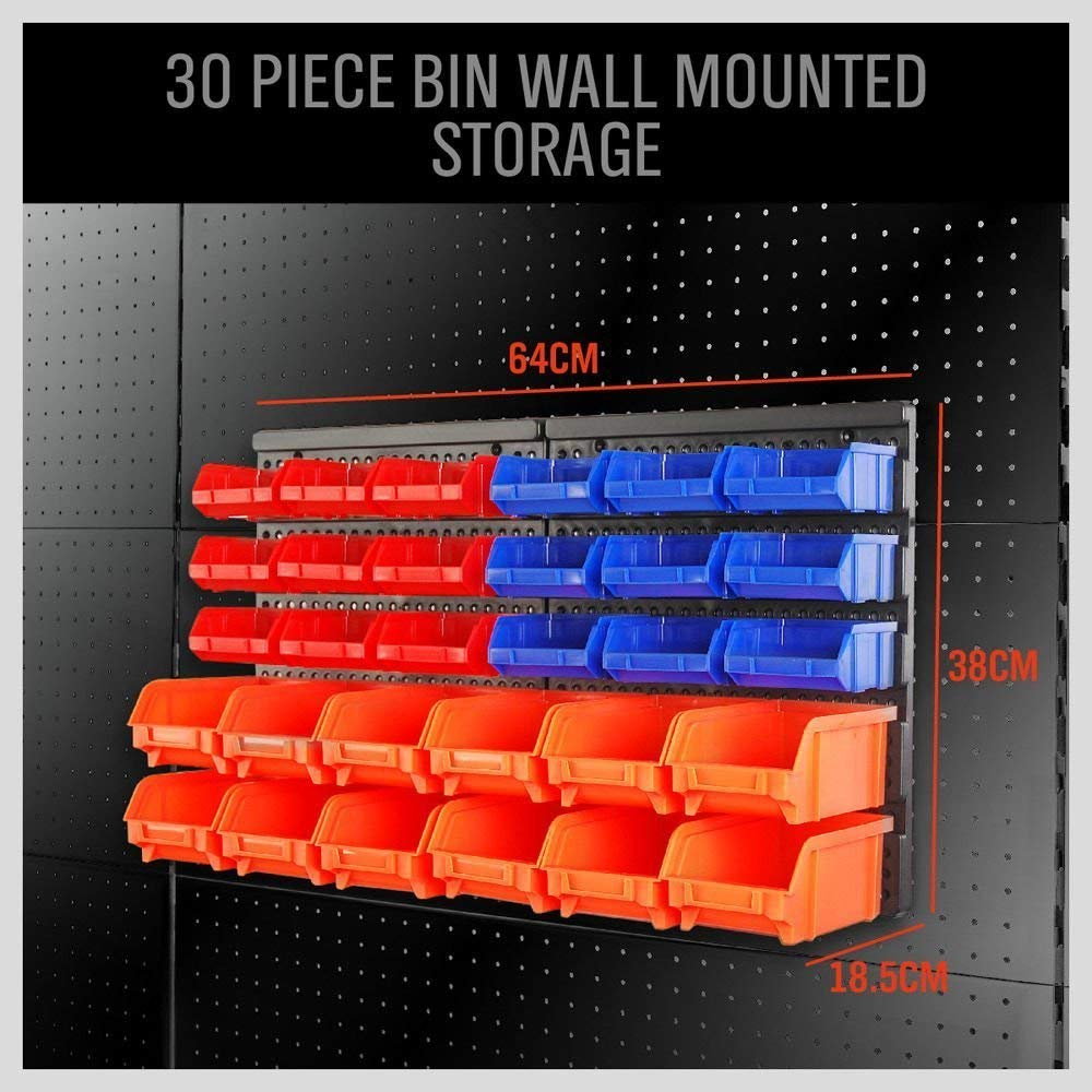 30-Compartment Garage Container Wall Mounted Storage Boxes Bins Plastic