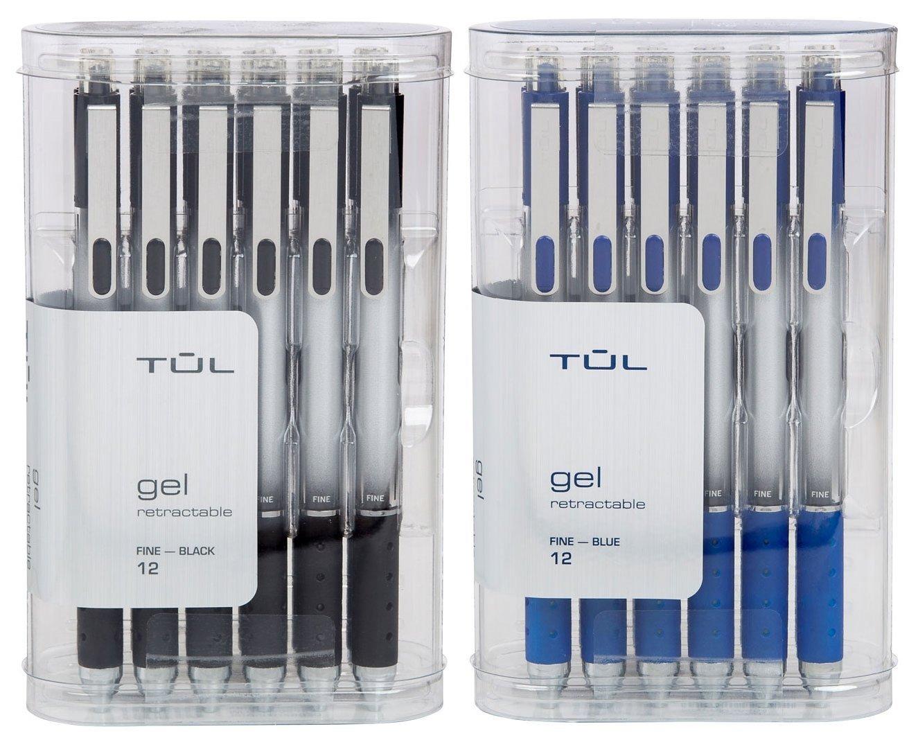 TUL Retractable Gel Pens 0.5mm Fine Point, Black/Blue Bundle (2 12-packs)