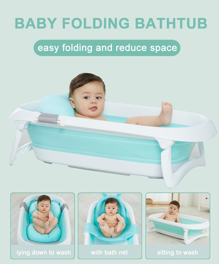 New Style Baby Folding Bath Tub Infant Collapsible Portable Shower Basin, Space Saving Plastic Newborn Folding Bath Tub Basin/