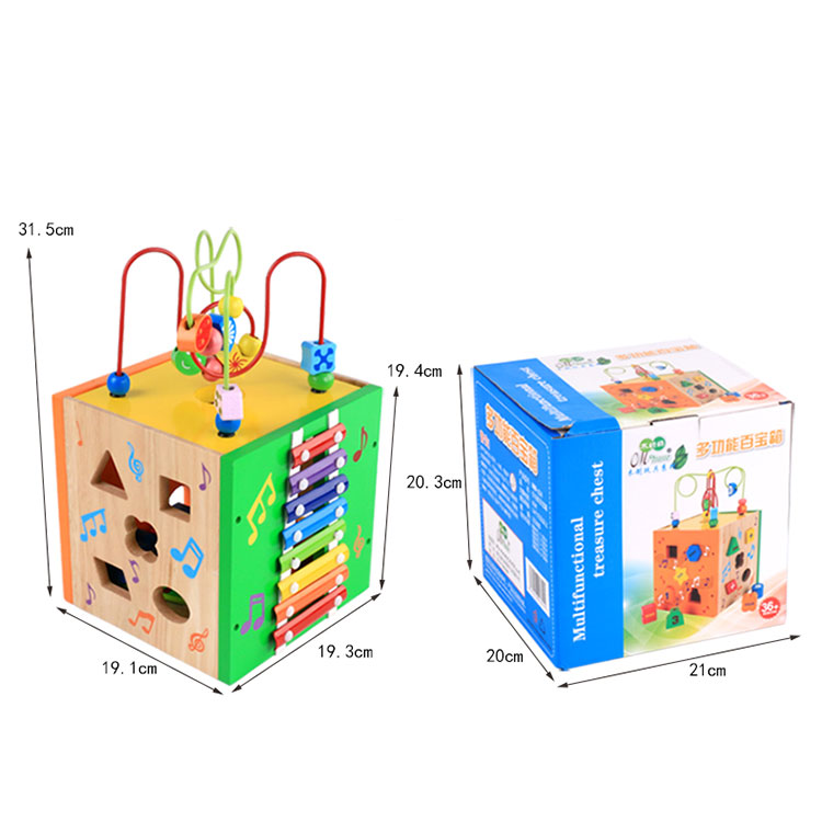 kids indoor multifunctional wooden box treasure chest Geometric Shape Cube String Beads maze toy