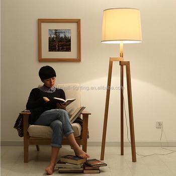 High Quality Fashion Modern Fancy Wood Stand Floor Lamp Tripod Floor