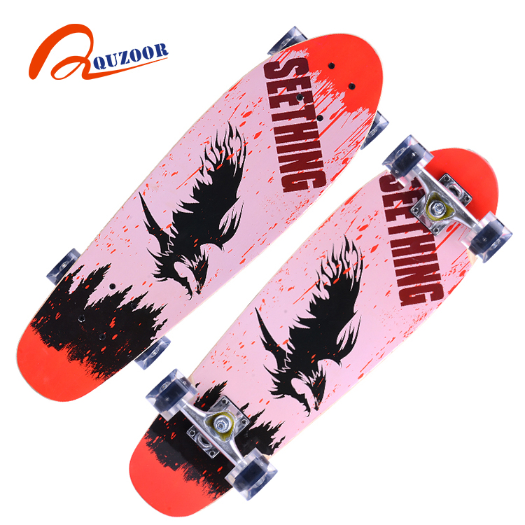 2017 latest new style chinese maple wood skateboard fishboard with high quality