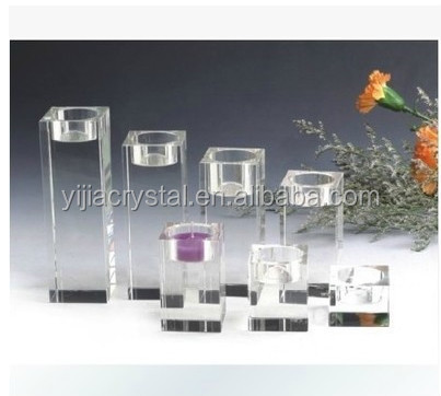 Crystal CandleHolders/Glass Candleholder/Engraved Square Crystal Candleholder For Wedding Favors