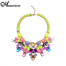 New Arrival Fashion Luury Statement Handmade Gem Resin Flower Statement Rope Layer Collar Women Jewelry B5117