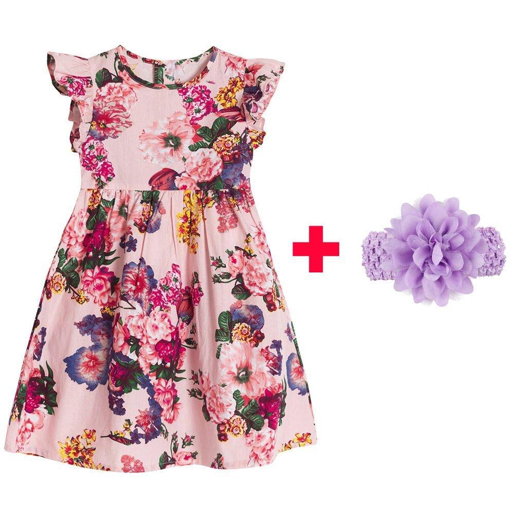 5e25c84e07450 Get Quotations · Ankola Girl's Summer Dress,Baby Girls Princess Ruffle  Floral Sleeveless Princess Dress Up Costume Spring