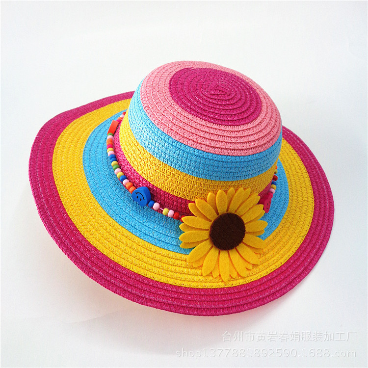 2018 New styles kids fashion colourful summer beach sunshade sombrero little  girls straw hats with flowers multicolor factory a5f842cb684