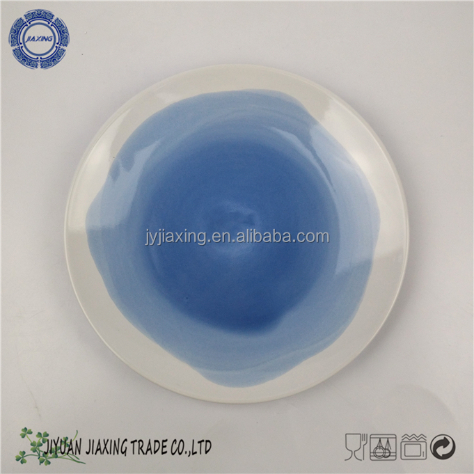 Ceramic Round Shape Solid white with blue dessert Plate stoneware