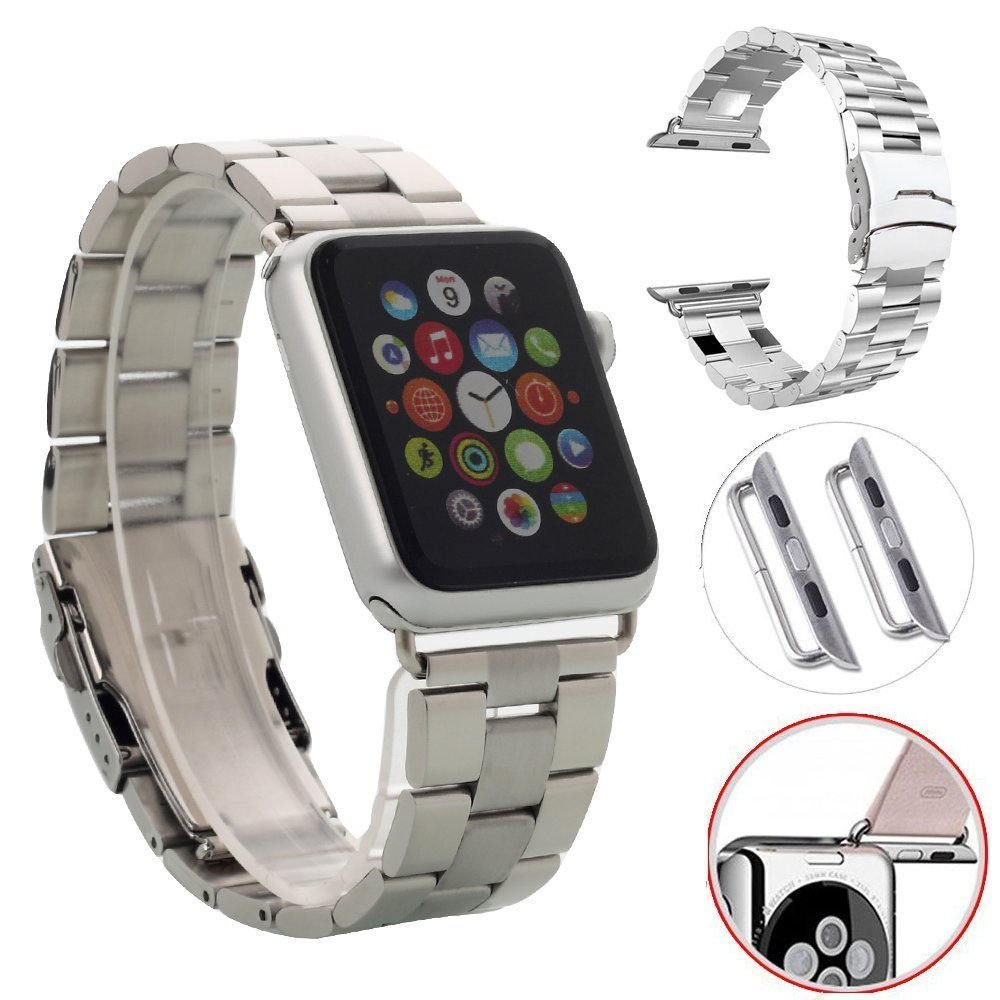 E-fashion Apple Watch Strap,Stainless Steel Metal Replacement Strap Link Wrist Band Classic Polishing Apple iWatch Strap with Precision Metal Ear Clip Adpter & Unique Butterfly Folding Clasp for Aplle Watch for Apple Watch & Sport & Edition - 42mm