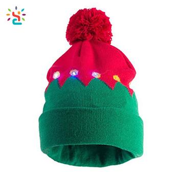 light up santa s elf hat multi led lights christmas cuff pom pom