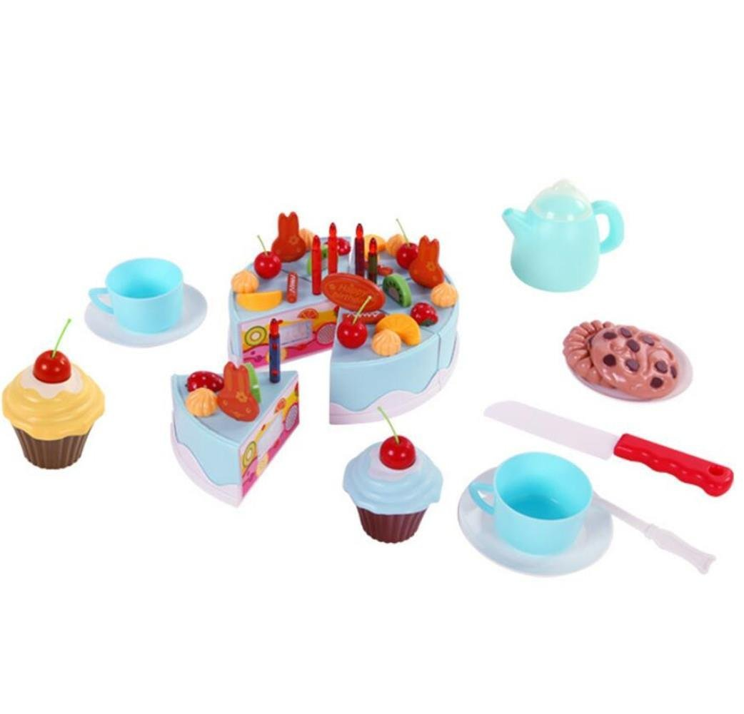 DIY Birthday Cake Set,AxiEr Children's Day gift Food Play Toy Set DIY cutting Pretend Play Birthday Party Cake with Candles for Children Kids babies girls 54pcs ,Blue