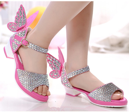 free shipping summer Pumps High heels shoes baby girl Sandals Leisure Children s shoes princess rhinestone