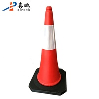 Red and White Reflective 75CM PE Rubber Road Traffic Cones For Sale