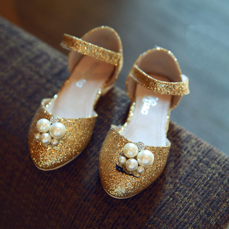 2016 glitter children shoes pearls beading flats bow ballet girls summer chaussure fille kid size 26